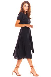 Black Flared Midi Dress with Short Kimono Sleeve