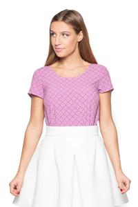 Pink Scoop Neckline Geometric Pattern T-shirt