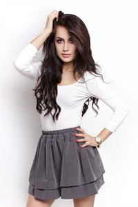 Grey Elastic Waist Firlled Mini Skirt