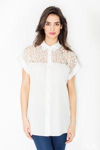 Ecru Short Sleeves Shirt with Lace Top Part