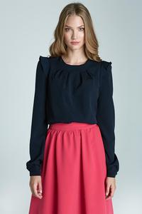 Dark Blue Soft Office Blouse with Frill at The Shoulders