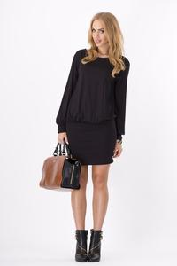 Black Bat Sleeves Fitted Skirt Mini Casual Dress