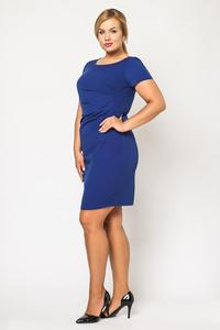 Blue Wrinkled Knee Length Coctail Dress PLUS SIZE