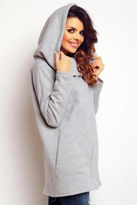 Grey Zip Closure Long Hoodie