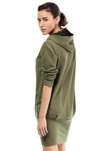 Khaki Casual Hooded Slim Skirt with Zipp Dress