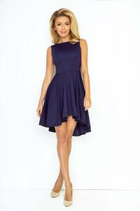 Dark Blue Pleated Asymetrical Coctail Dress