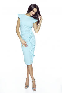 Light Blue Structured Petal Sleeves Midi Dress