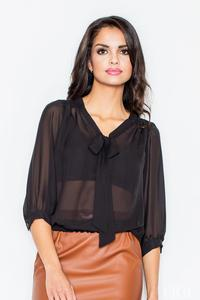 Black Elegant Self Tie Bow Elastic Waistband Blouse