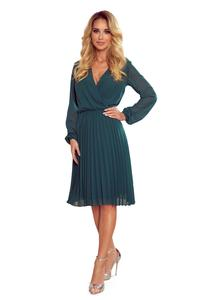 Green Wrapped Front Pleated Dress