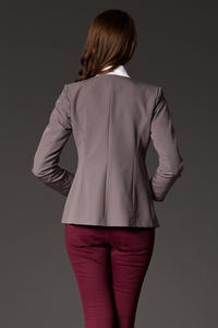 Puffed Shoulder Collarless Seam Grey Blazer