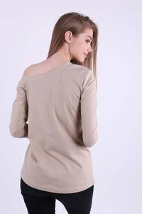 Beige Casual Blouse with Overlay Pocket
