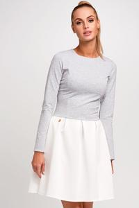 Light Grey Grey Long Sleeves Flared Skirt Casual Dress