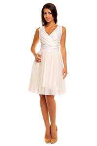 Cream Evening Party Dress with Tulle