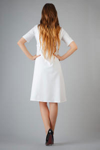 White High Fad Dress with Dipped Hem