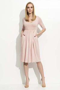 Pink 3/4 Sleeves Midi Dress