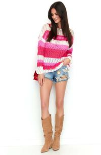 White Raspberry Pink Openwork Sweater with Colorful Stripes