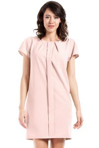 Powder Pink Simple Style Short Sleeves Dress