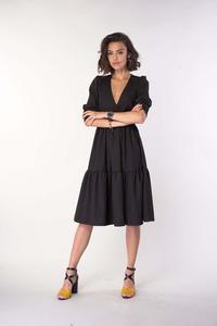 Black Dress with a Frill with an Envelope Neckline