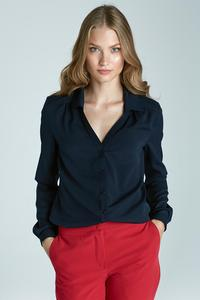 Dark Blue  Long Sleeves Classic Office Shirt