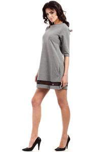 Grey Classic Flared Dress with Transparent Strap