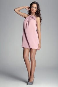 Pink Halter Neck Romantic Rose Dress