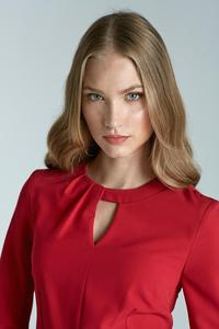 Red Elegant Office Style Dress with Cut Out Collar