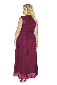 Maroon V-Neckline Evening Maxi Dress PLUS SIZE