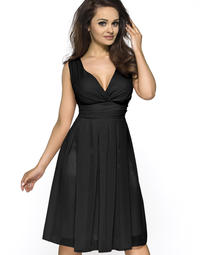 Black Elegant Deep Neck Evening Dress