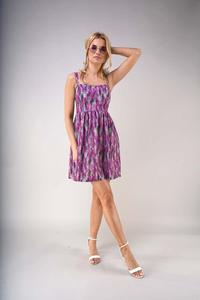 Flared Summer Dress with Braces - Lavender