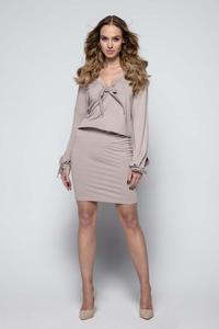 Mocca Casual Dress with Self Tie Bows