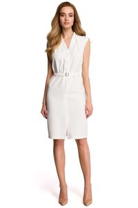 Ecru Sleeveless Mini Dress with Belt