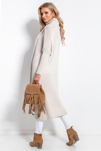 Beige Turtleneck Long Sweater