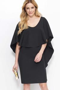Black Knee Length Dress with Cape Frill