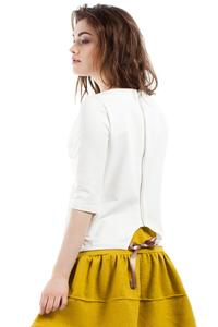 Ecru 3/4 Sleeves Top with Cute Bow