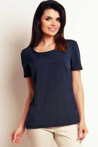 Dark Blue Simple Short Sleeves Blouse with Pocket