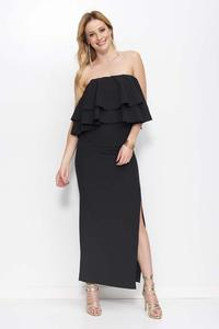 Black Maxi Off Shoulders Dress with Frills