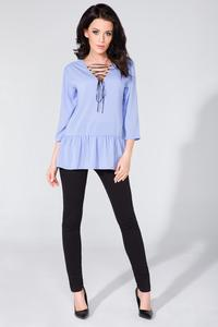 Light Blue Frilled Lace-up Front Blouse