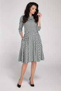 Checkered Midi Flared Dress Black and White