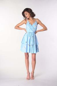 Dress with straps with an assumed neckline - Blue