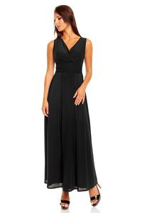 Black V-Neck Slim Waist Prom Evening Dress