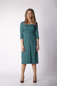 Green Knitted Dress with Draping Elements