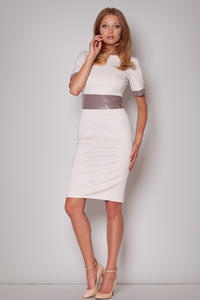 Beige Silky Enigmatic Bandeau Classic Dress