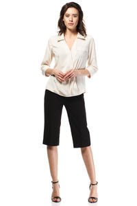 Black Wide Cut Leg Cropped Length Loose Fit Pants