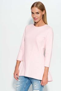 Powder Pink Casual Comfy Peplum Blouse
