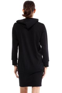 Black Casual Hooded Slim Skirt with Zipp Dress