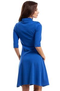 Blue Flared Dress with Tourtleneck