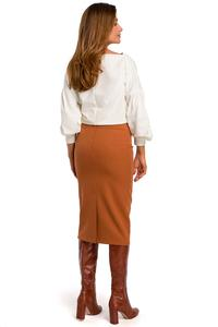 Red Pencil Skirt over the Knee with a cut belt
