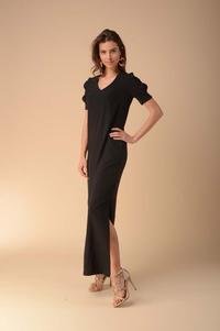 Black Simple Maxi Dress with a Cut Out on the Sleeves
