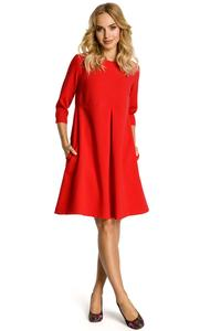 Red Flared Dress with Front Doublefold