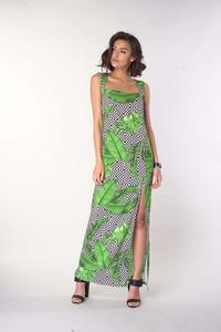 Maxi Summer Dress with a Rectangular Neckline - Leaves